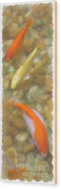 Orange Wood Print featuring the digital art Koi by Peggy Starks