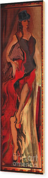 Woman Wood Print featuring the painting Debut In Red by Anne Weirich