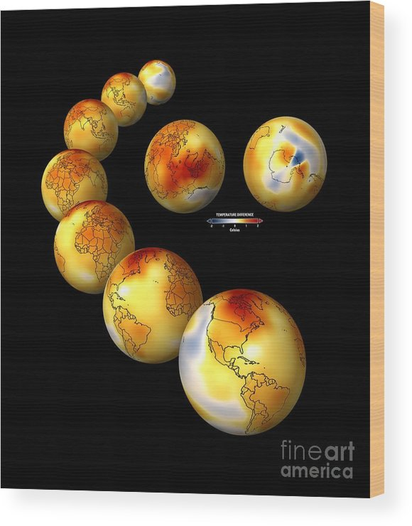 Artwork Wood Print featuring the photograph Global Temperature Changes, Artwork by Carlos Clarivan