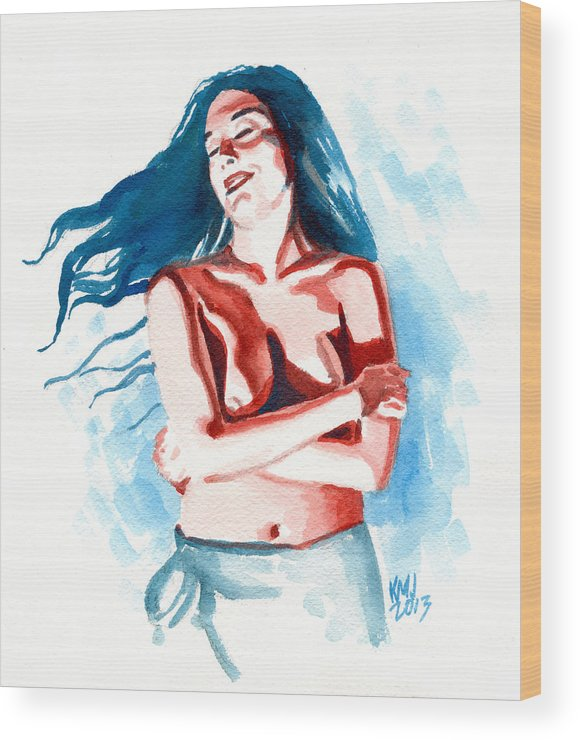 Women Wood Print featuring the painting Lisa by Ken Meyer