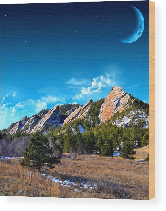 Flatiron Mountain Peaks Wood Print featuring the photograph Majestic Flatirons Of Boulder Colorado With Big Moon by John Hoffman
