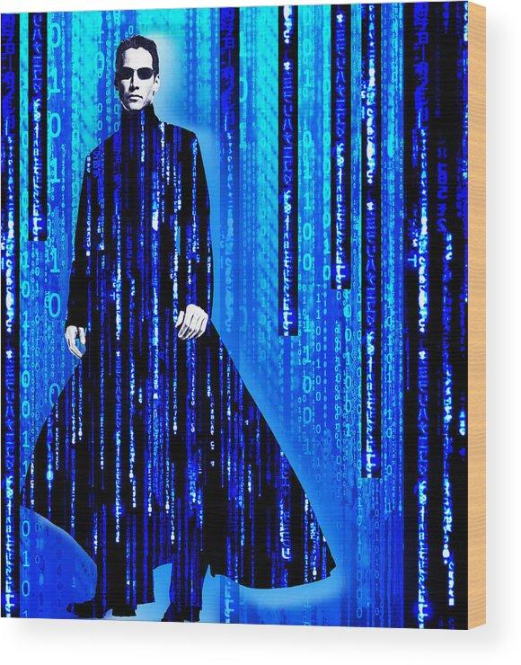 Matrix Wood Print featuring the painting Matrix Neo Keanu Reeves 2 by Tony Rubino