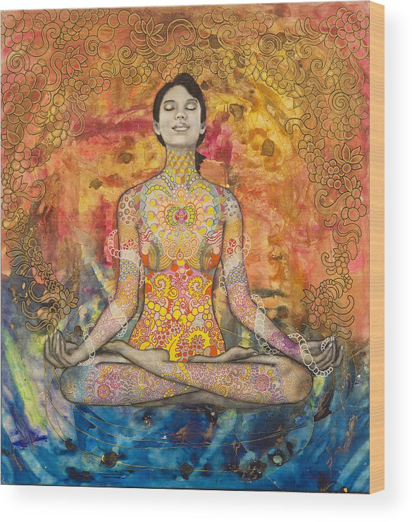 Yoga Wood Print featuring the painting Wish Keeper by Hector and Agata ART