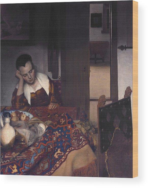 Jan Vermeer Wood Print featuring the painting A Maid Asleep by Jan Vermeer