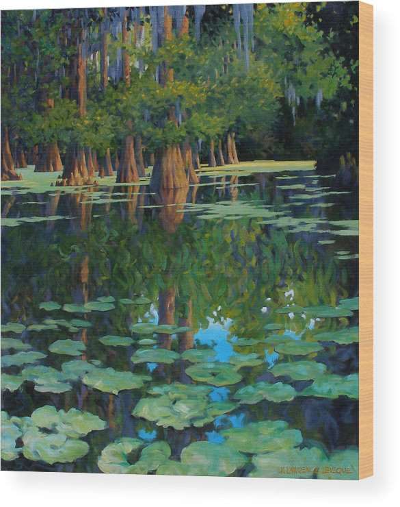 Swamp Wood Print featuring the painting A Patch Of Blue by Kevin Lawrence Leveque