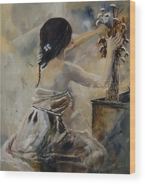 Girl Wood Print featuring the painting Arranging Flowers by Pol Ledent