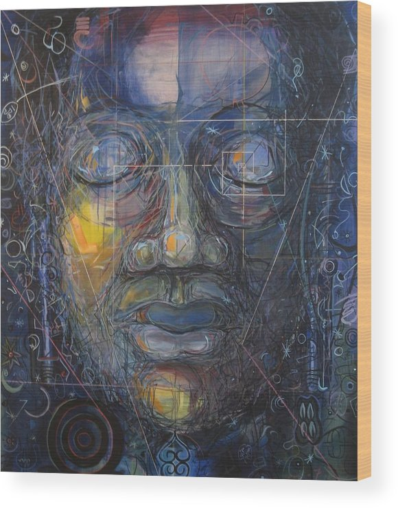 People Wood Print featuring the painting Black Buddha by David McKee