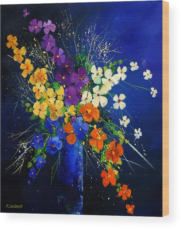 Poppies Wood Print featuring the print Bunch 0408 by Pol Ledent