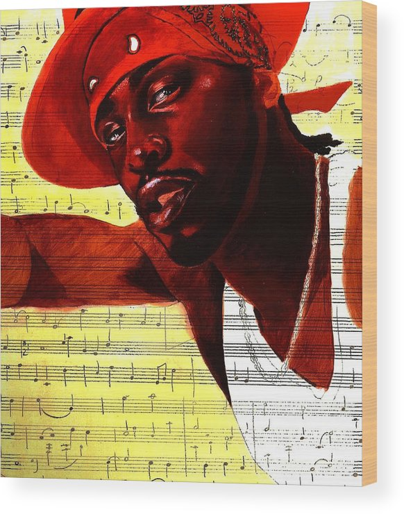 Portraits Wood Print featuring the painting D'angelo-singer by Raphael Sanabria