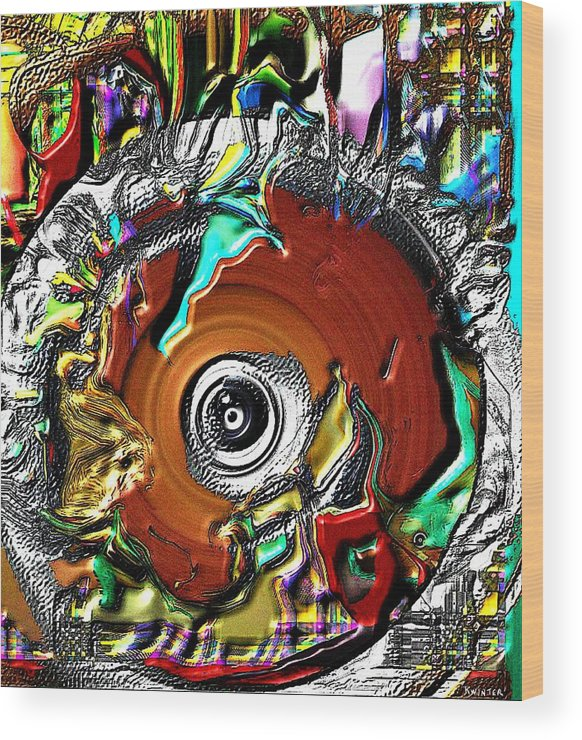Abstract Wood Print featuring the digital art Disc by Dave Kwinter