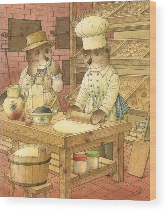 Bears Kitchen Magic Bakery Gastronome Red Wood Print featuring the painting Florentius The Gardener14 by Kestutis Kasparavicius