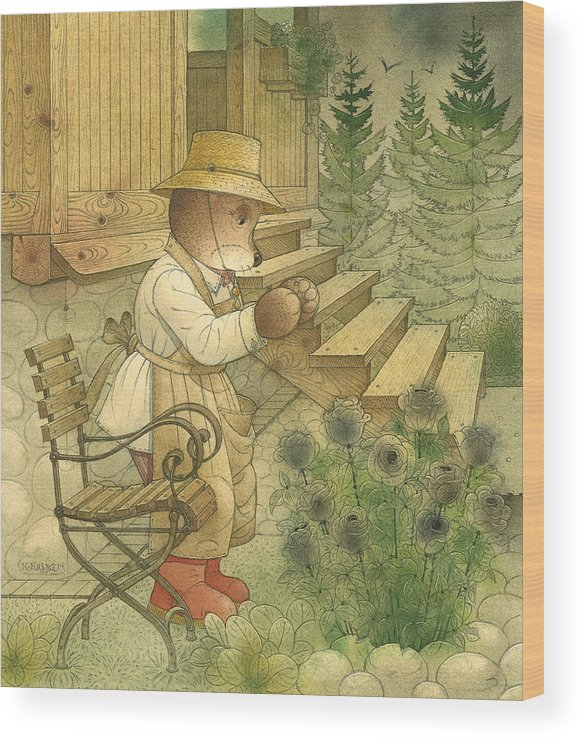 Bears Night Magic Glamour Dark Flowers Roses Wood Print featuring the painting Florentius The Gardener20 by Kestutis Kasparavicius