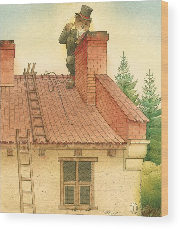 Bears Red Garden Chimney Sweep Wood Print featuring the painting Florentius The Gardener27 by Kestutis Kasparavicius