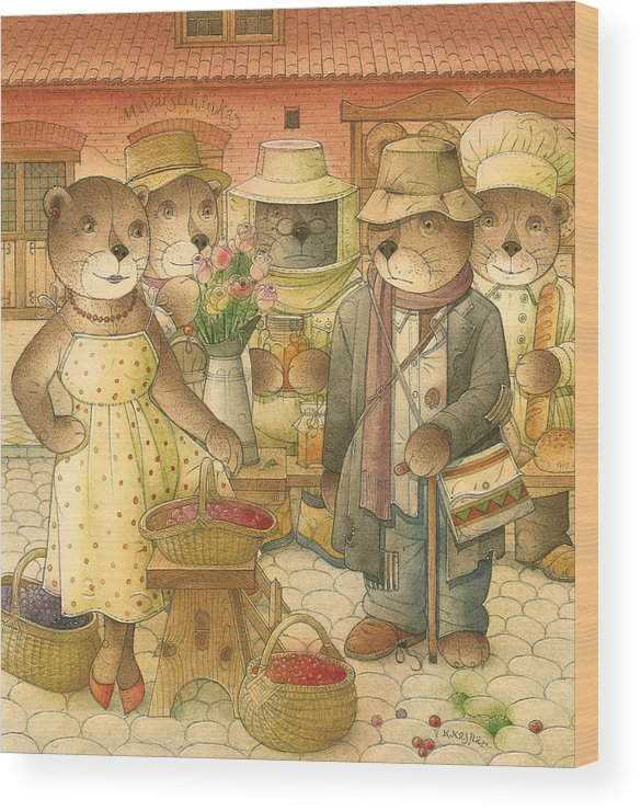 Love Bears Roses Flowers Town Berry Wood Print featuring the painting Folrentius The Gardener07 by Kestutis Kasparavicius