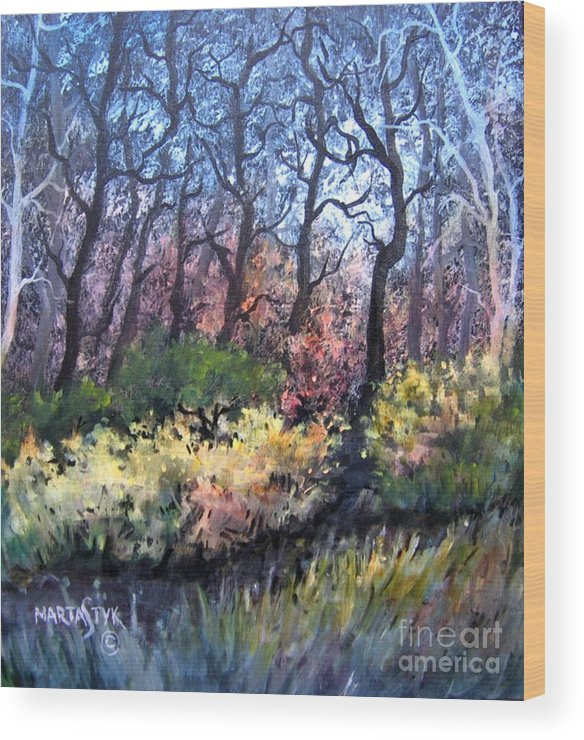 Landscape Wood Print featuring the painting Harmony 2 by Marta Styk