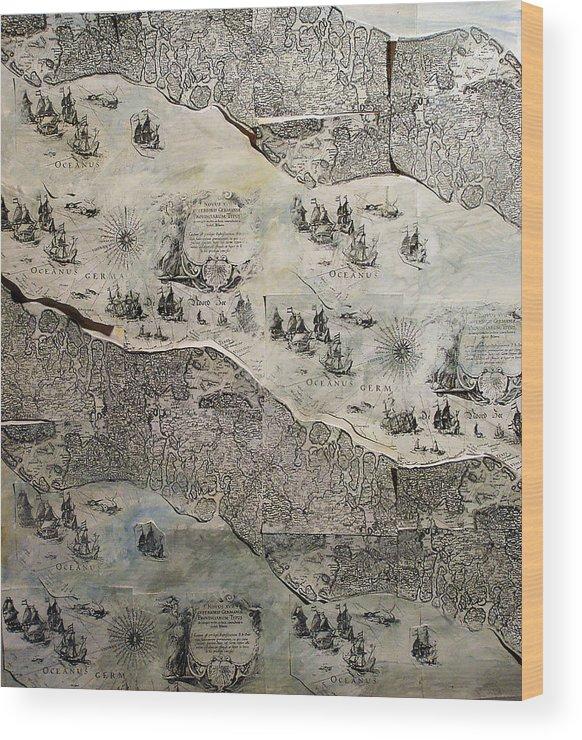 Map Wood Print featuring the mixed media On The Way by Kseniya Nelasova