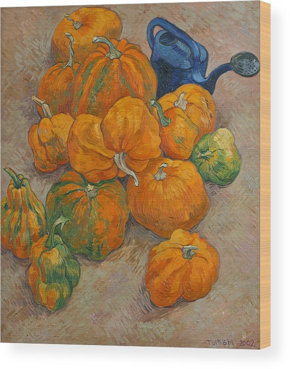 Still Life Wood Print featuring the painting Pumpkins And Watering Can by Vitali Komarov