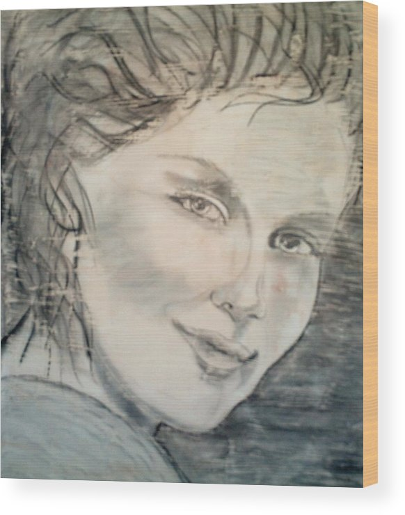 Woman Wood Print featuring the drawing Savannah Smiles Again by J Bauer