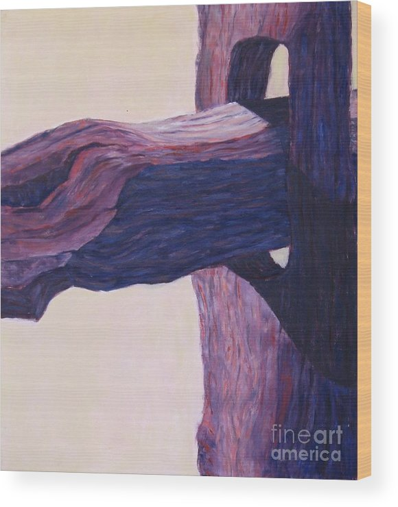 A Monochromatic Study Of A Wooden Fencepost Wood Print featuring the painting The Fencepost by Judith Espinoza