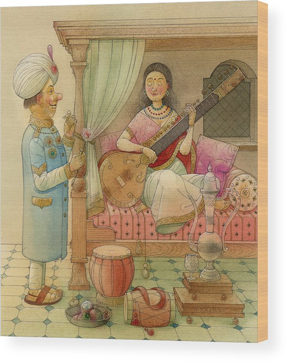 King Queen Palace Love Happiness Fortune Evening Music Sitar Bedroom India Wood Print featuring the painting The White Elephant 08 by Kestutis Kasparavicius