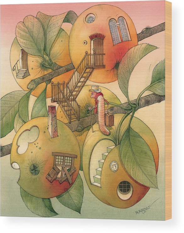Worm Autumn Apple Garden Home Tree Evening Wood Print featuring the painting Trawelling Worm by Kestutis Kasparavicius