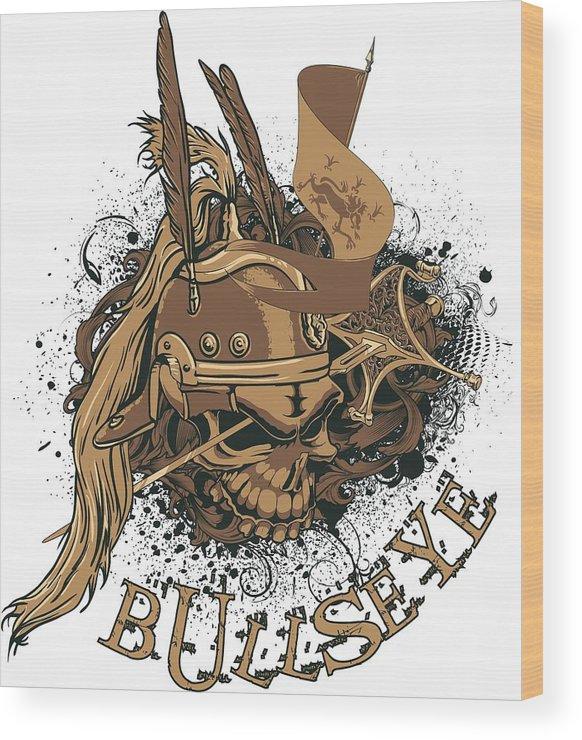 Halloween Wood Print featuring the digital art Bullseye by Passion Loft