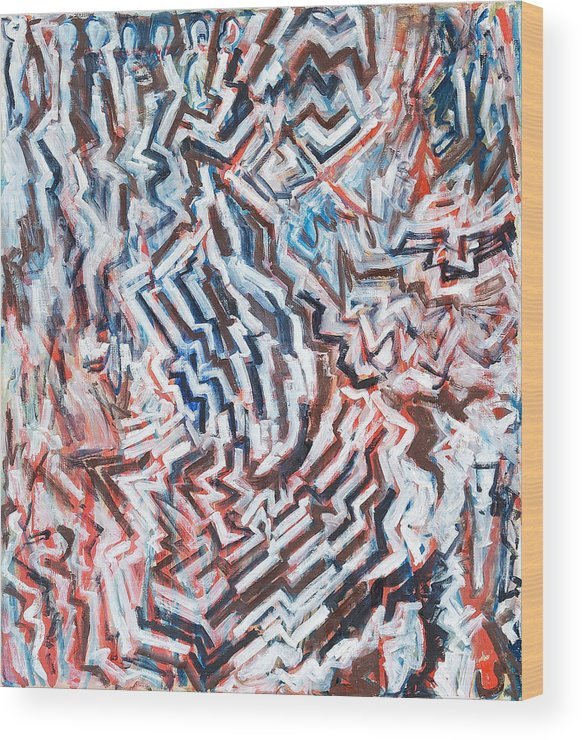 Abstract White Red Brown Blue Layered Pattern Wood Print featuring the painting Heart Of Slate by Joan De Bot