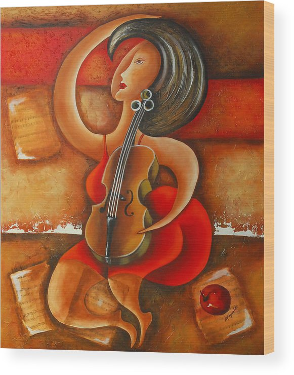 Abstract Expressionism Wood Print featuring the painting A Woman And Her Violin by Marta Giraldo