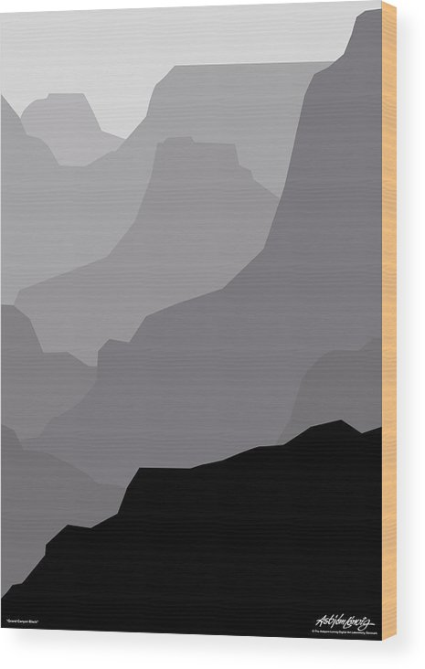 Grand Canyon Black Wood Print featuring the digital art Grand Canyon Black by Asbjorn Lonvig