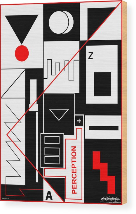 Perception Wood Print featuring the digital art Perception II - Text by Asbjorn Lonvig