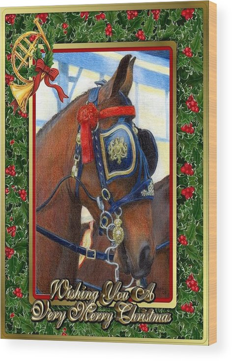 Cleveland Bay Horse Christmas Card Wood Print featuring the drawing Cleveland Bay Horse Christmas Card by Olde Time Mercantile