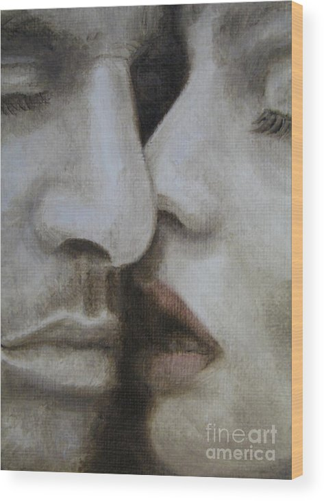 Noewi Wood Print featuring the painting The Kiss by Jindra Noewi