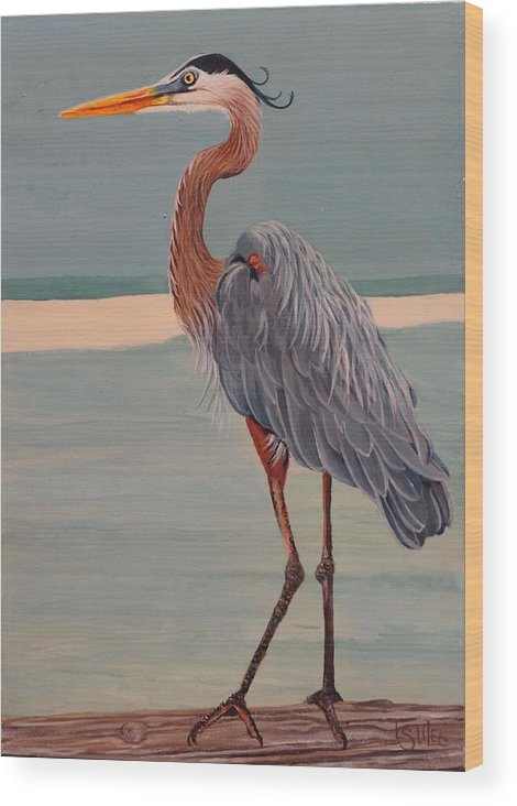 Great Blue Heron Wood Print featuring the painting Waterfront Property by Lorraine Ulen