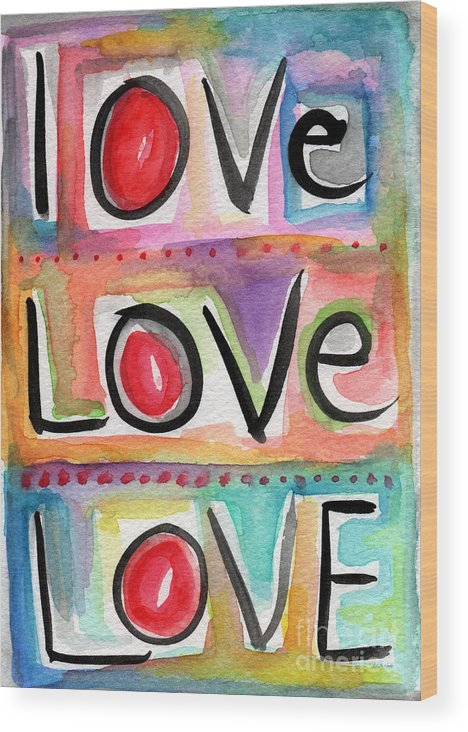 Love Wood Print featuring the mixed media Love by Linda Woods
