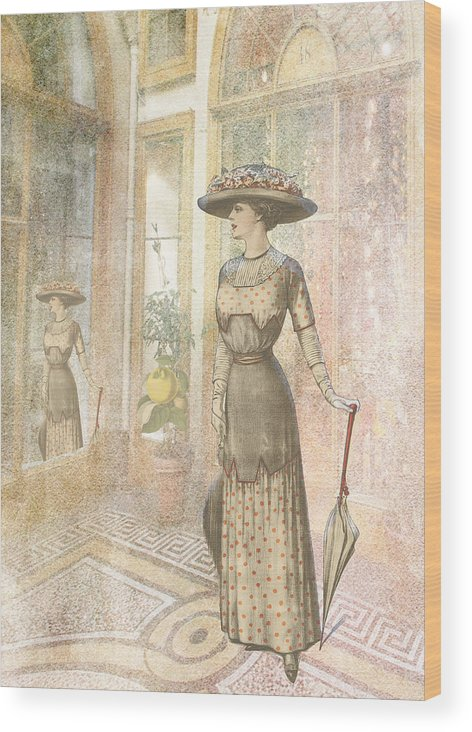 Lady Wood Print featuring the digital art A Lady's Curious Reflection by Sarah Vernon