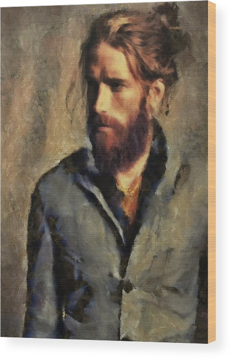 Men.man.male Wood Print featuring the painting A Modern Day Edouard by Janice MacLellan