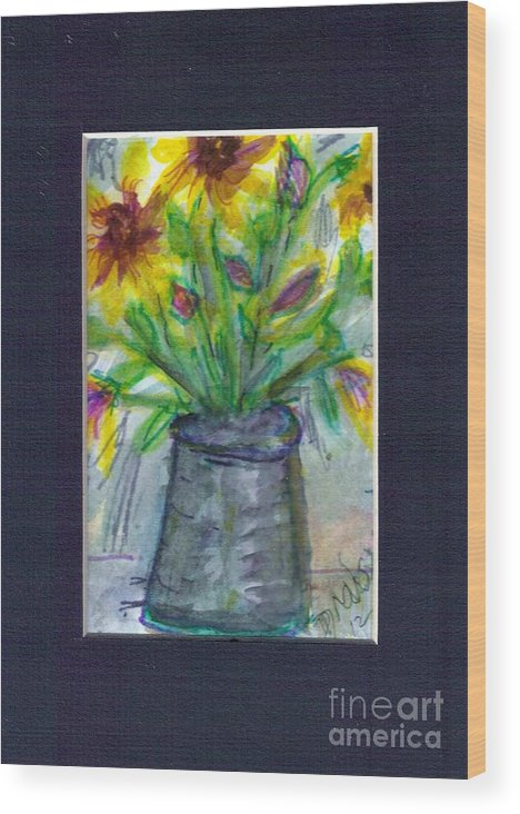 Vase Wood Print featuring the painting A Vase Of Rudbeckia by Debbie Wassmann