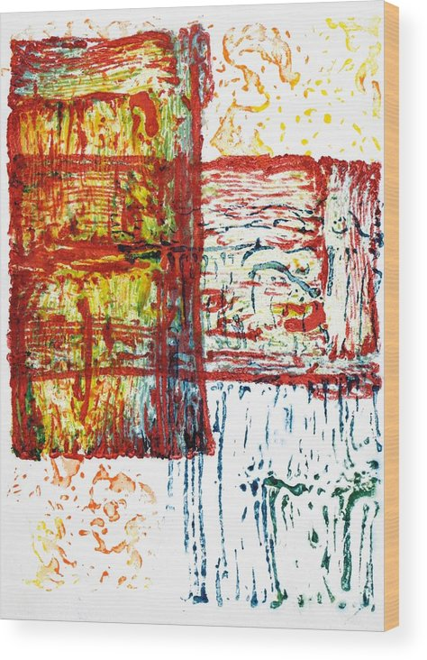 Abstract Wood Print featuring the mixed media Acoustic Shock IIi by Michelle L Bolin