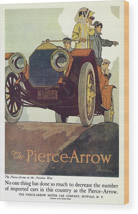 1925 Wood Print featuring the drawing Ad Pierce-arrow, 1925 by Granger