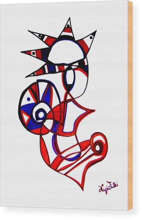 Abstract Wood Print featuring the drawing Baby by Nafiz Tilki