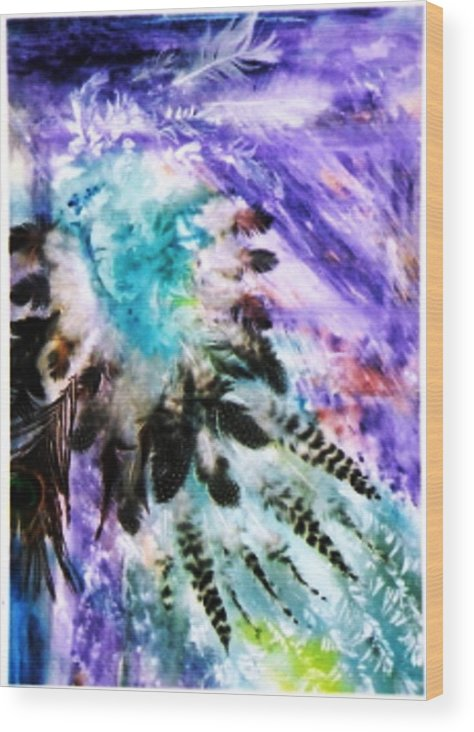 Feathers Wood Print featuring the painting Bird Woman by Trudi Doyle