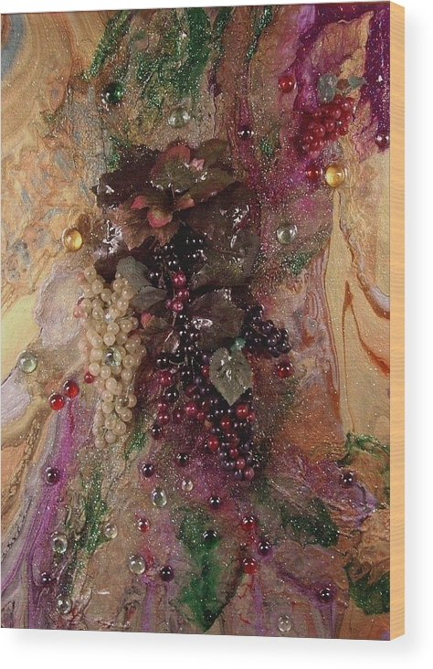 Acrylic Abstract Multimedia. Representative Of California Vineyards Wood Print featuring the painting Blended by Patrick Mock