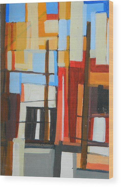 Brooklyn Wood Print featuring the painting Brooklyn Abstract by Ron Erickson