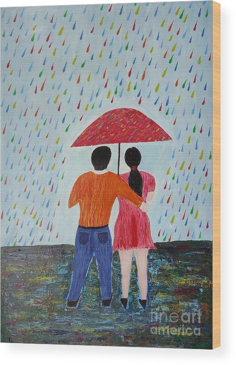 Rainy Days Wood Print featuring the painting Colorful Rain by Jnana Finearts