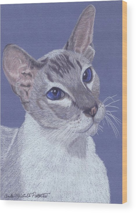 Cat Wood Print featuring the painting Colorpoint Vignette by Anita Putman