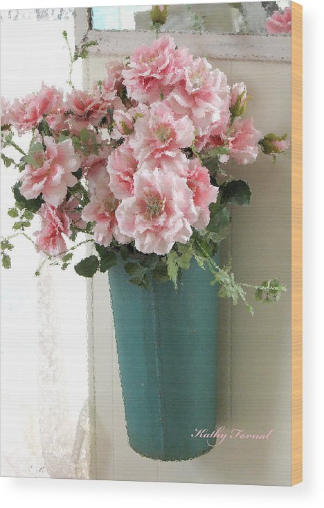 Cottage shabby chic hanging basket pink flowers wood print by kathy beautiful dreamy floral art wood print featuring the photograph cottage shabby chic hanging basket pink flowers mightylinksfo