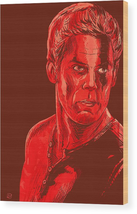Dexter Wood Print featuring the drawing Dexter by Giuseppe Cristiano