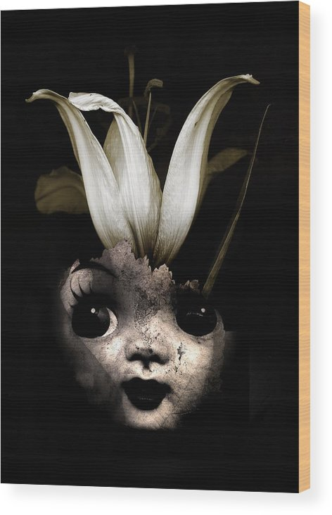 Black Wood Print featuring the photograph Doll Flower by Johan Lilja