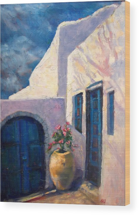 Greece Wood Print featuring the painting Doorway_greece by Fran McDonald Berry