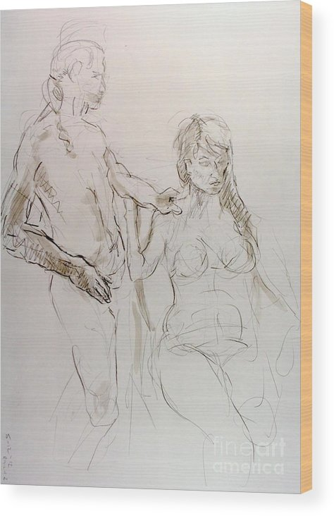 Andy Gordon Wood Print featuring the drawing E Standing Next To Z by Andy Gordon